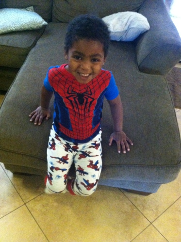 Aydyn in Spiderman jammies
